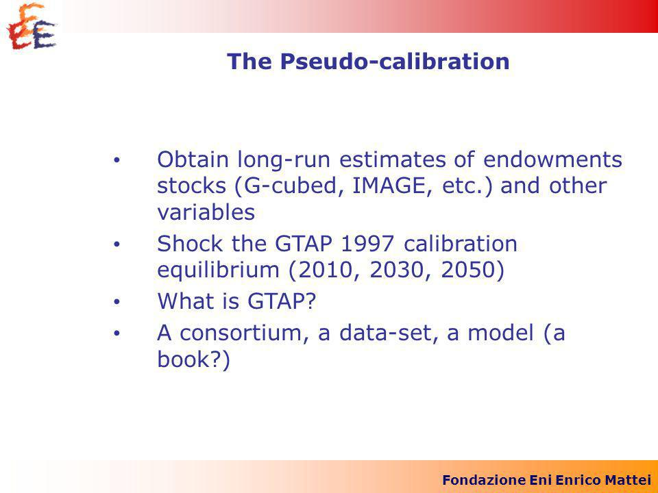 Fondazione Eni Enrico Mattei Obtain long-run estimates of endowments stocks (G-cubed, IMAGE, etc.) and other variables Shock the GTAP 1997 calibration equilibrium (2010, 2030, 2050) What is GTAP.