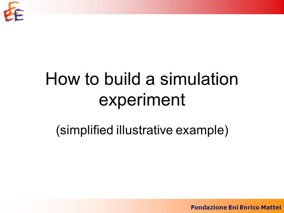 Fondazione Eni Enrico Mattei How to build a simulation experiment (simplified illustrative example)