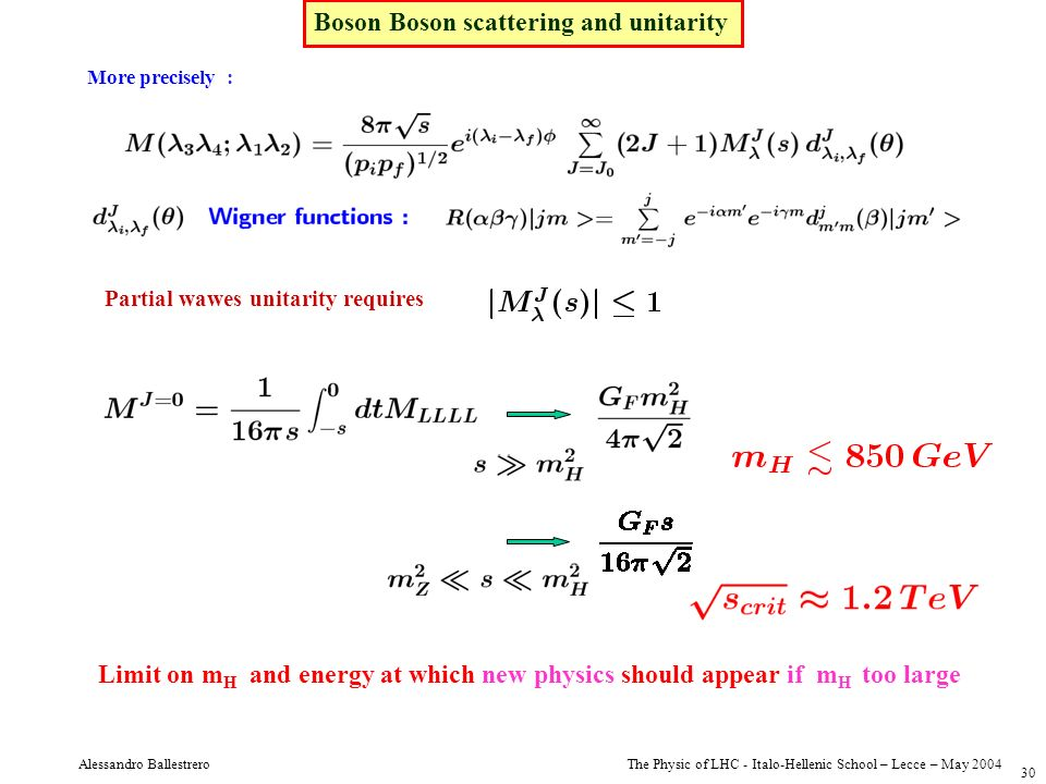 The Physic of LHC - Italo-Hellenic School – Lecce – May 2004 Alessandro Ballestrero 30 More precisely : Partial wawes unitarity requires Boson Boson s