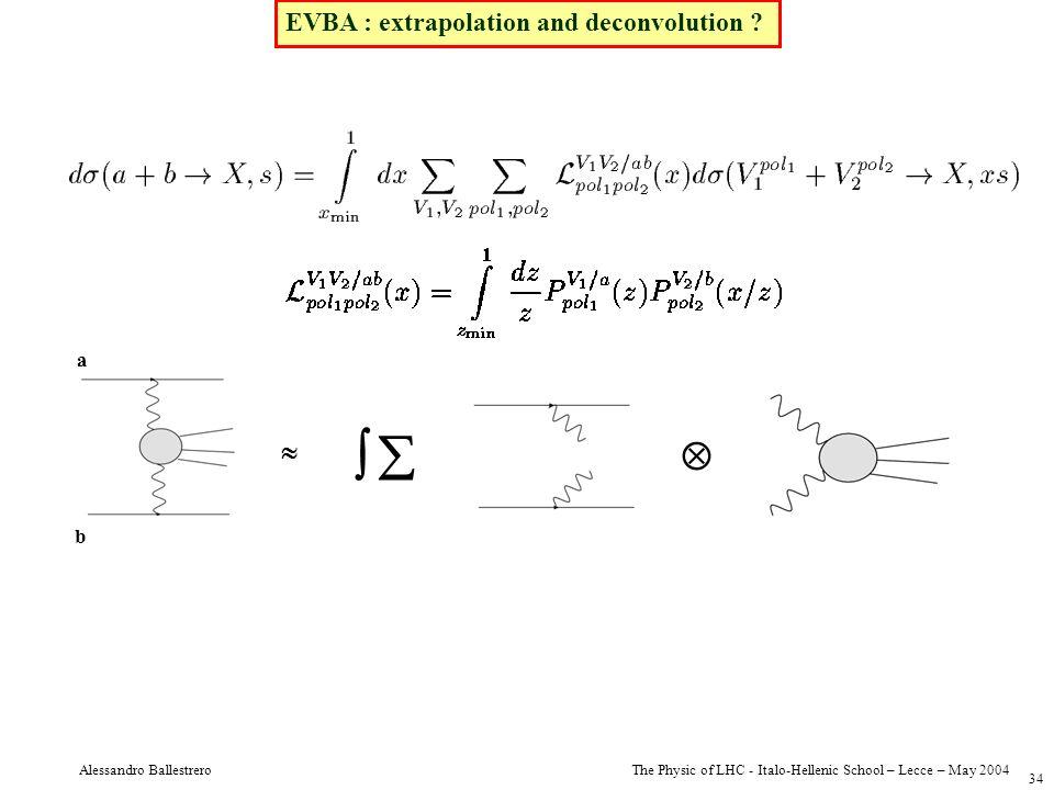 The Physic of LHC - Italo-Hellenic School – Lecce – May 2004 Alessandro Ballestrero 34 EVBA : extrapolation and deconvolution ? a b
