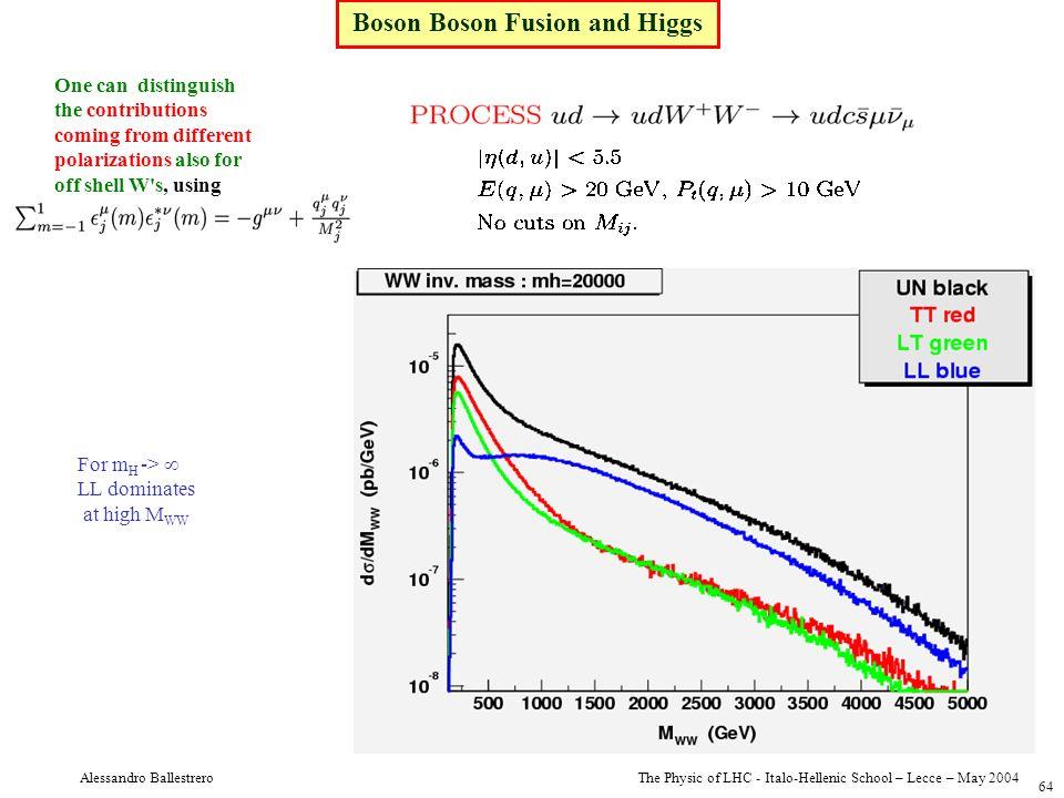 The Physic of LHC - Italo-Hellenic School – Lecce – May 2004 Alessandro Ballestrero 64 Boson Boson Fusion and Higgs One can distinguish the contributi