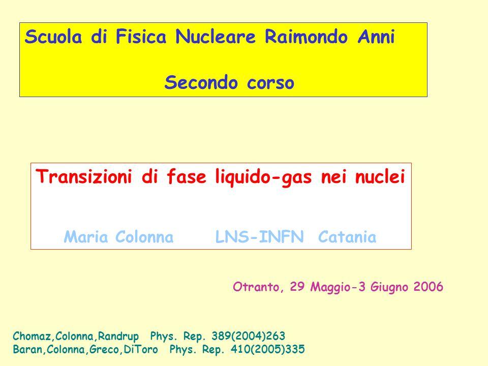 Scuola di Fisica Nucleare Raimondo Anni Secondo corso Transizioni di fase liquido-gas nei nuclei Maria Colonna LNS-INFN Catania Otranto, 29 Maggio-3 Giugno 2006 Chomaz,Colonna,Randrup Phys.