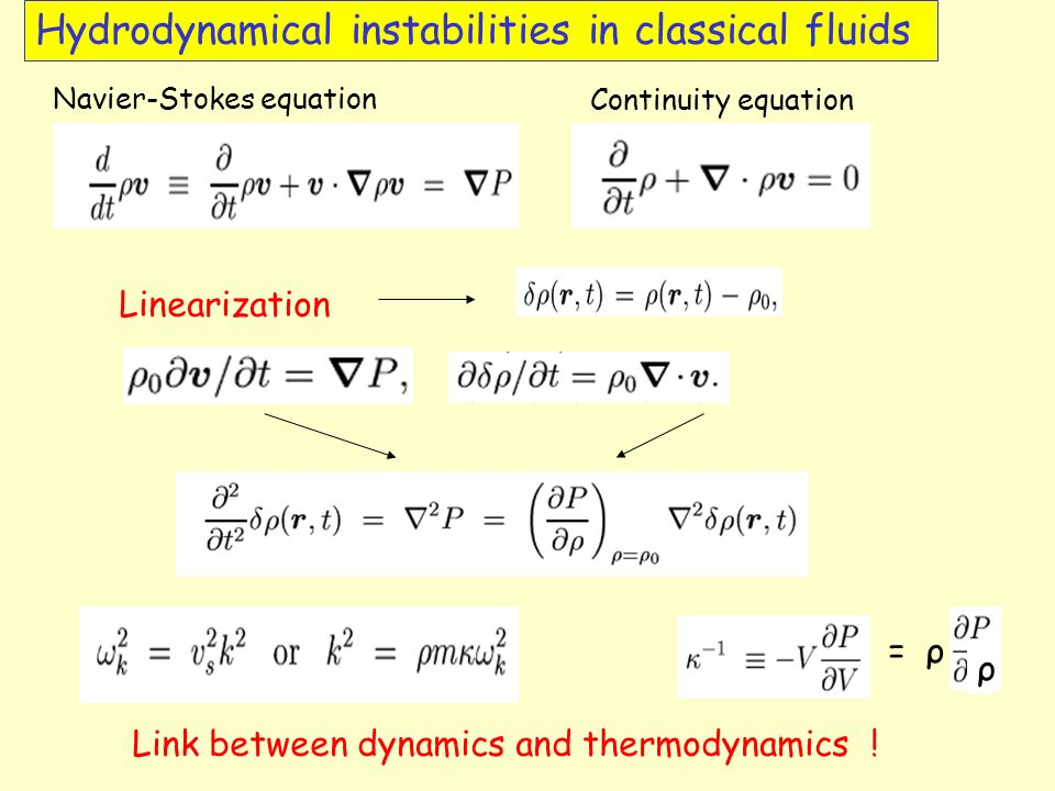 Hydrodynamical instabilities in classical fluids Navier-Stokes equation Continuity equation Linearization = ρ ρ Link between dynamics and thermodynamics !