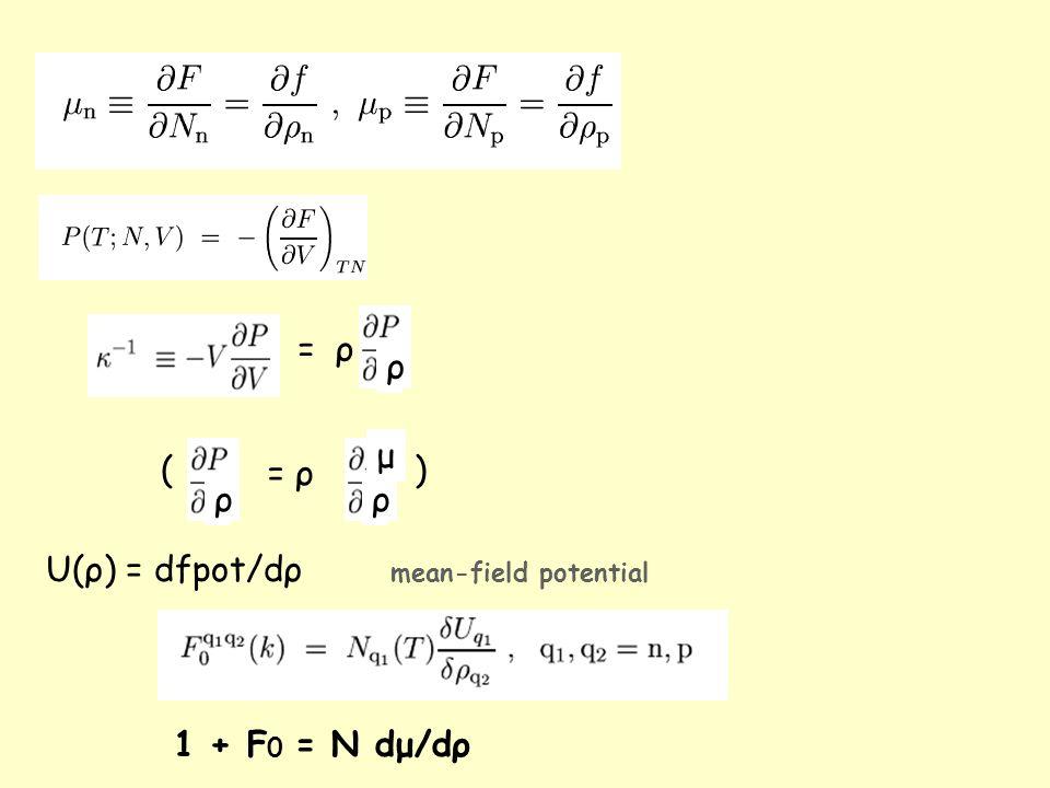 = ρ ρ ρ ρ μ () U(ρ) = dfpot/dρ mean-field potential 1 + F 0 = N dμ/dρ