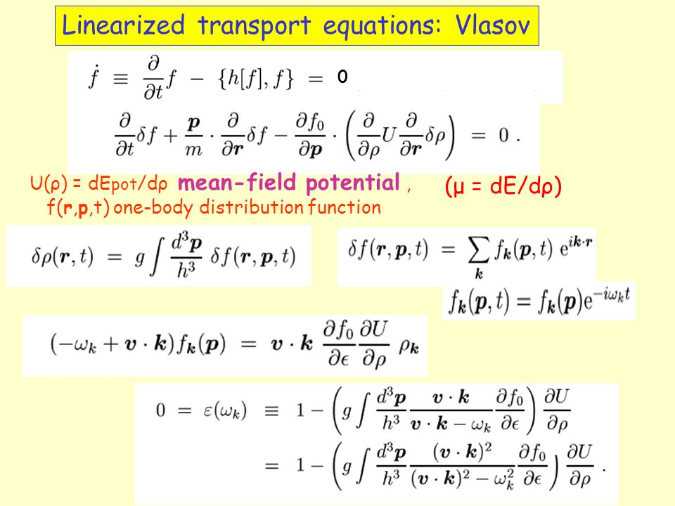 Linearized transport equations: Vlasov U(ρ) = dE pot /dρ mean-field potential, f(r,p,t) one-body distribution function (μ = dE/dρ) 0