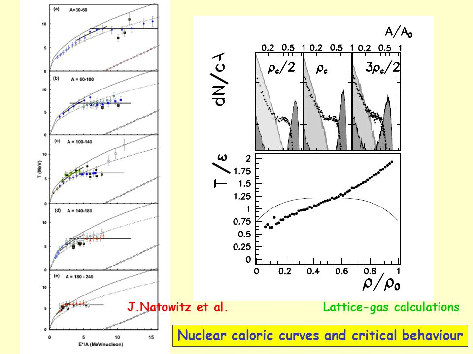 Nuclear caloric curves and critical behaviour J.Natowitz et al.Lattice-gas calculations