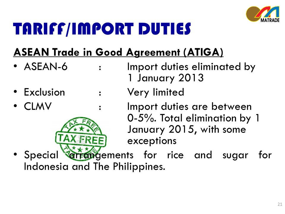 TARIFF/IMPORT DUTIES ASEAN Trade in Good Agreement (ATIGA) ASEAN-6:Import duties eliminated by 1 January 2013 Exclusion: Very limited CLMV: Import duties are between 0-5%.