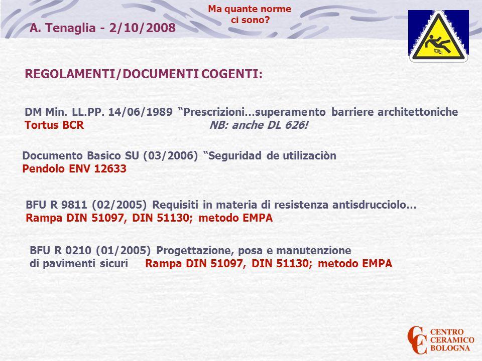 A. Tenaglia - 2/10/2008 Ma quante norme ci sono? REGOLAMENTI/DOCUMENTI COGENTI: DM Min. LL.PP. 14/06/1989 Prescrizioni…superamento barriere architetto