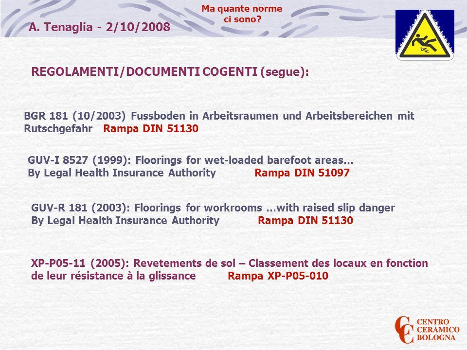 A. Tenaglia - 2/10/2008 Ma quante norme ci sono? BGR 181 (10/2003) Fussboden in Arbeitsraumen und Arbeitsbereichen mit Rutschgefahr Rampa DIN 51130 RE