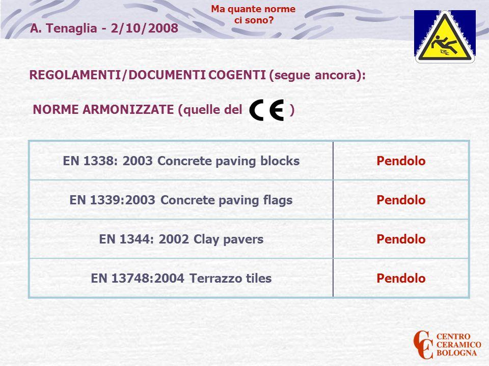 A. Tenaglia - 2/10/2008 Ma quante norme ci sono? REGOLAMENTI/DOCUMENTI COGENTI (segue ancora): NORME ARMONIZZATE (quelle del ) EN 1338: 2003 Concrete