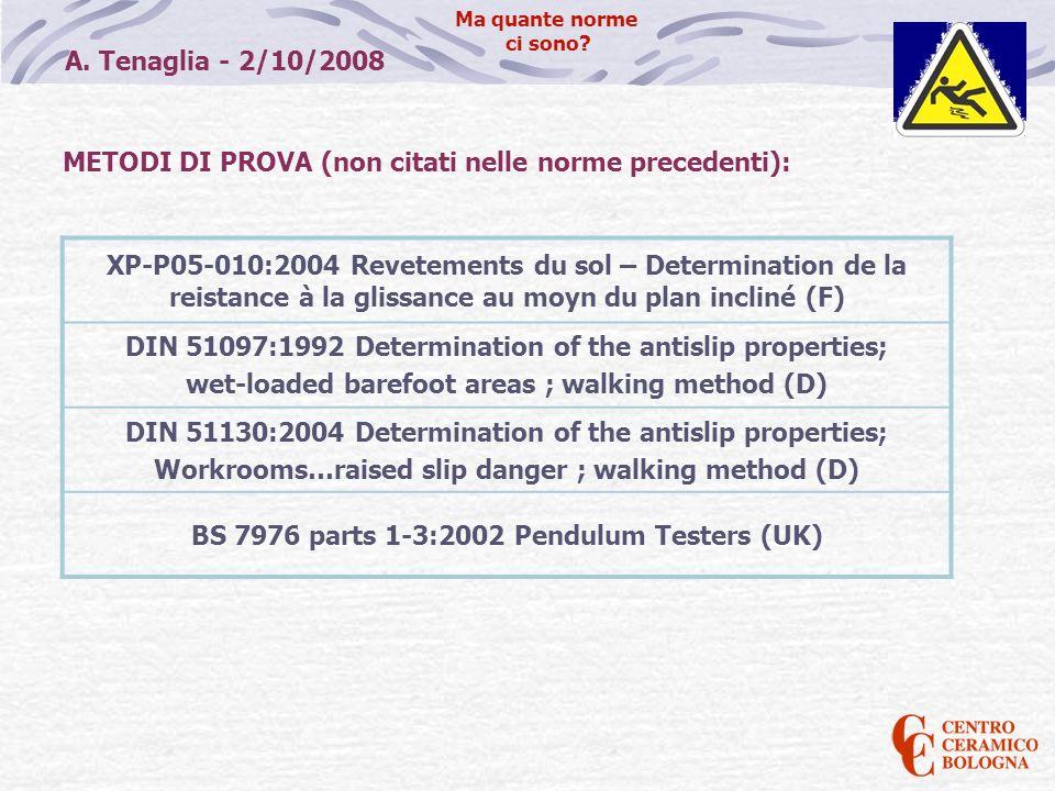 A. Tenaglia - 2/10/2008 Ma quante norme ci sono? METODI DI PROVA (non citati nelle norme precedenti): XP-P05-010:2004 Revetements du sol – Determinati