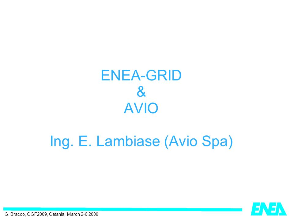 ENEA-GRID & AVIO Ing. E. Lambiase (Avio Spa) G. Bracco, OGF2009, Catania, March 2-6 2009