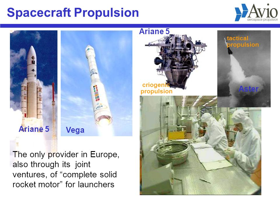 Spacecraft Propulsion The only provider in Europe, also through its joint ventures, of complete solid rocket motor for launchers criogenic propulsion tactical propulsion Ariane 5 Vega Aster