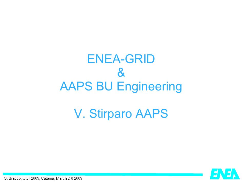 ENEA-GRID & AAPS BU Engineering V. Stirparo AAPS G. Bracco, OGF2009, Catania, March 2-6 2009