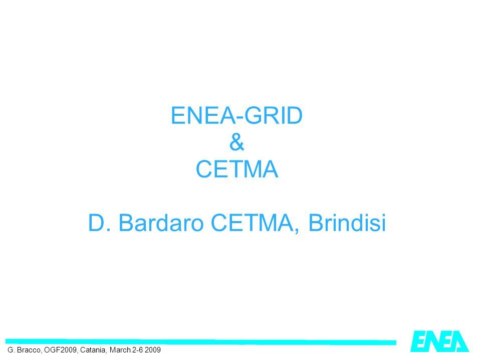 ENEA-GRID & CETMA D. Bardaro CETMA, Brindisi G. Bracco, OGF2009, Catania, March 2-6 2009