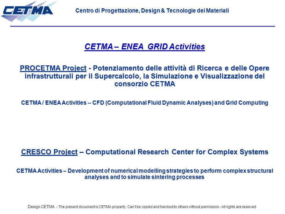 Design CETMA - The present document is CETMA property.