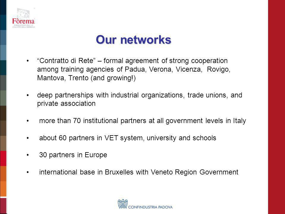 Contratto di Rete – formal agreement of strong cooperation among training agencies of Padua, Verona, Vicenza, Rovigo, Mantova, Trento (and growing!) d