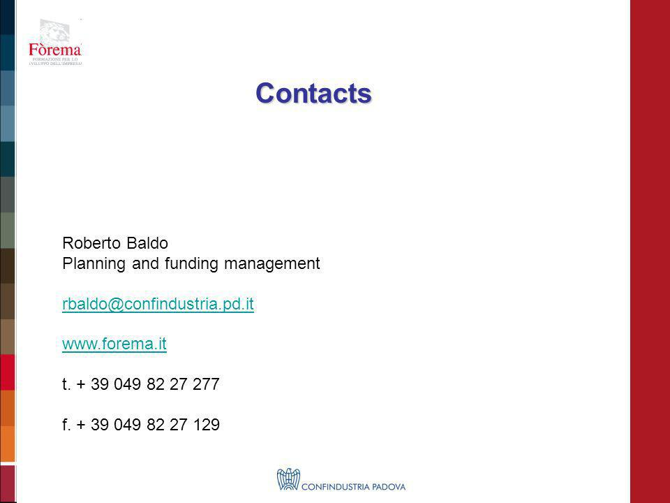 Roberto Baldo Planning and funding management rbaldo@confindustria.pd.it www.forema.it t. + 39 049 82 27 277 f. + 39 049 82 27 129 Contacts