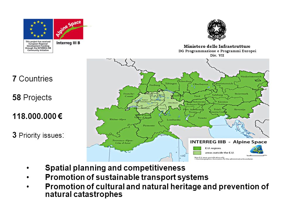 7 Countries 58 Projects 118.000.000 3 Priority issues : Spatial planning and competitiveness Promotion of sustainable transport systems Promotion of cultural and natural heritage and prevention of natural catastrophes Ministero delle Infrastrutture DG Programmazione e Programmi Europei Div.