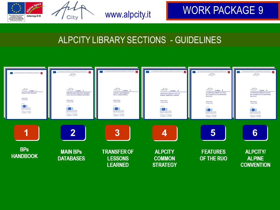 www.alpcity.it WORK PACKAGE 9 1 1 BPs HANDBOOK 2 2 MAIN BPs DATABASES 3 3 TRANSFER OF LESSONS LEARNED 4 4 ALPCITY COMMON STRATEGY 5 5 FEATURES OF THE RUO 6 6 ALPCITY/ ALPINE CONVENTION 1 1 3 3 4 4 ALPCITY LIBRARY SECTIONS - GUIDELINES
