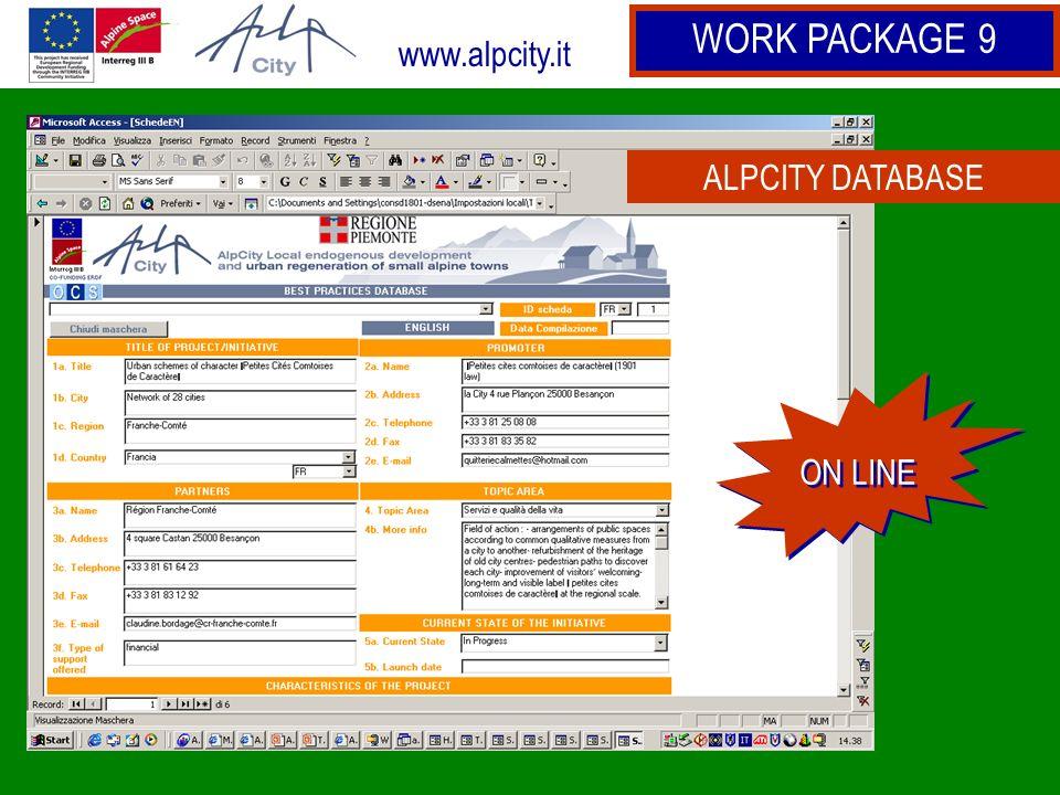 www.alpcity.it WORK PACKAGE 9 ALPCITY DATABASE ON LINE