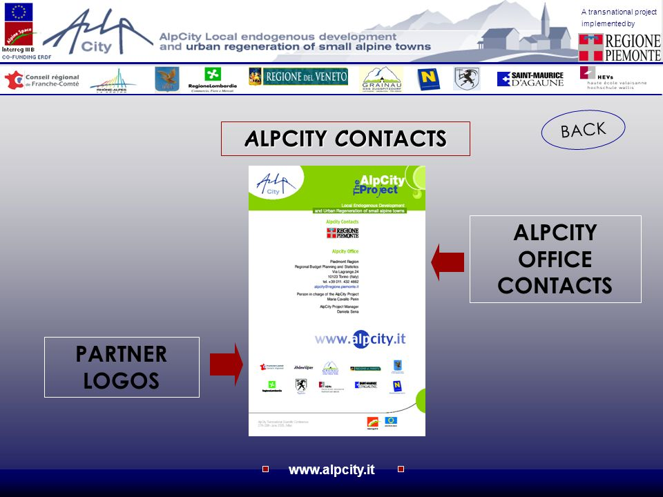 www.alpcity.it A transnational project implemented by A LPCITY C ONTACTS BACK PARTNER LOGOS ALPCITY OFFICE CONTACTS