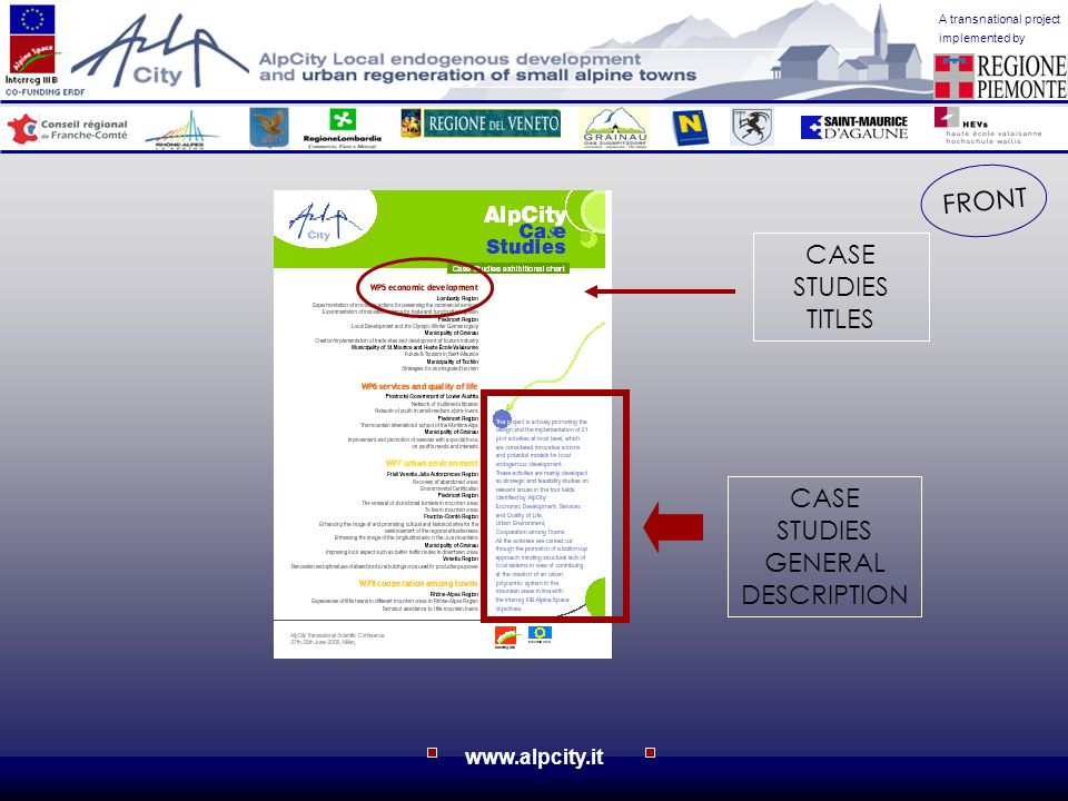 A transnational project implemented by www.alpcity.it CASE STUDIES TITLES CASE STUDIES GENERAL DESCRIPTION FRONT