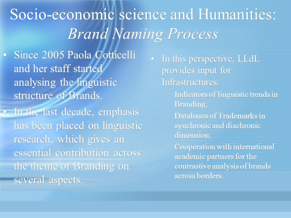 Socio-economic science and Humanities: Brand Naming Process In this perspective, LLdL provides input for Infrastructures: –Indicators of linguistic tr