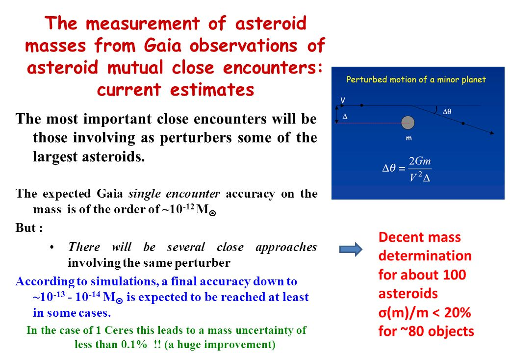 The measurement of asteroid masses from Gaia observations of asteroid mutual close encounters: current estimates The most important close encounters will be those involving as perturbers some of the largest asteroids.