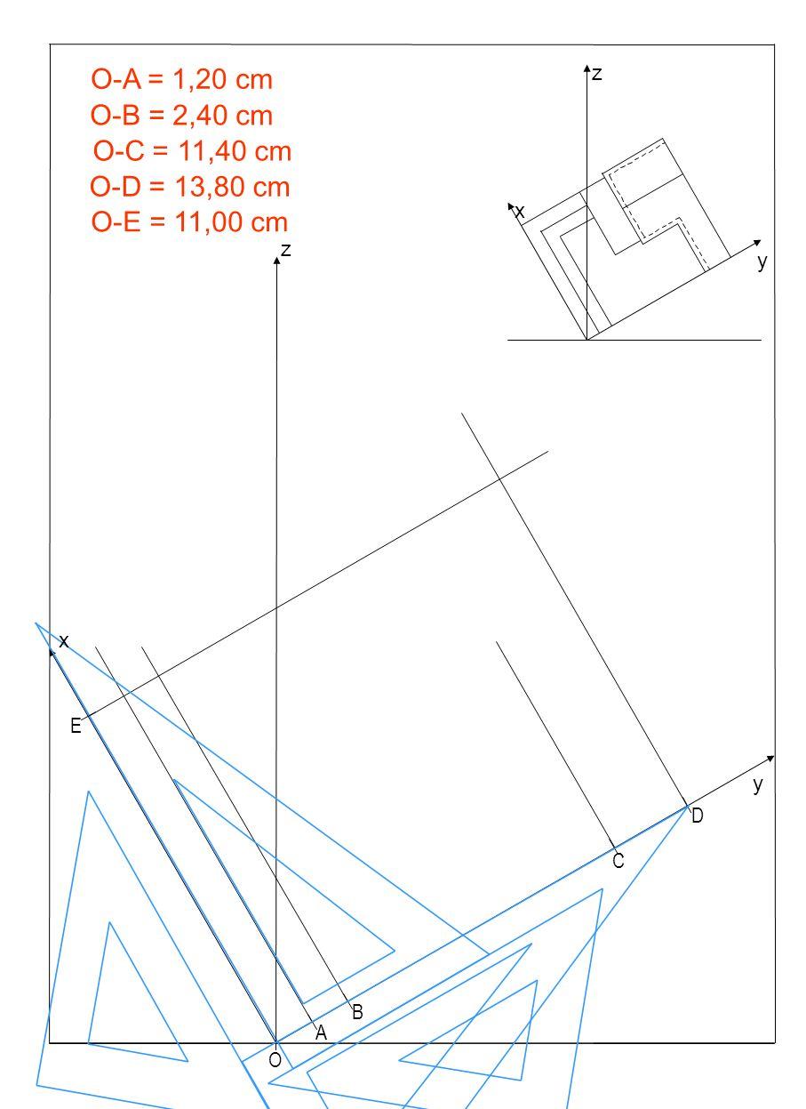 Pianta 1 A B C D E O z y x O-A = 1,20 cm O-B = 2,40 cm O-C = 11,40 cm O-D = 13,80 cm O-E = 11,00 cm z y x