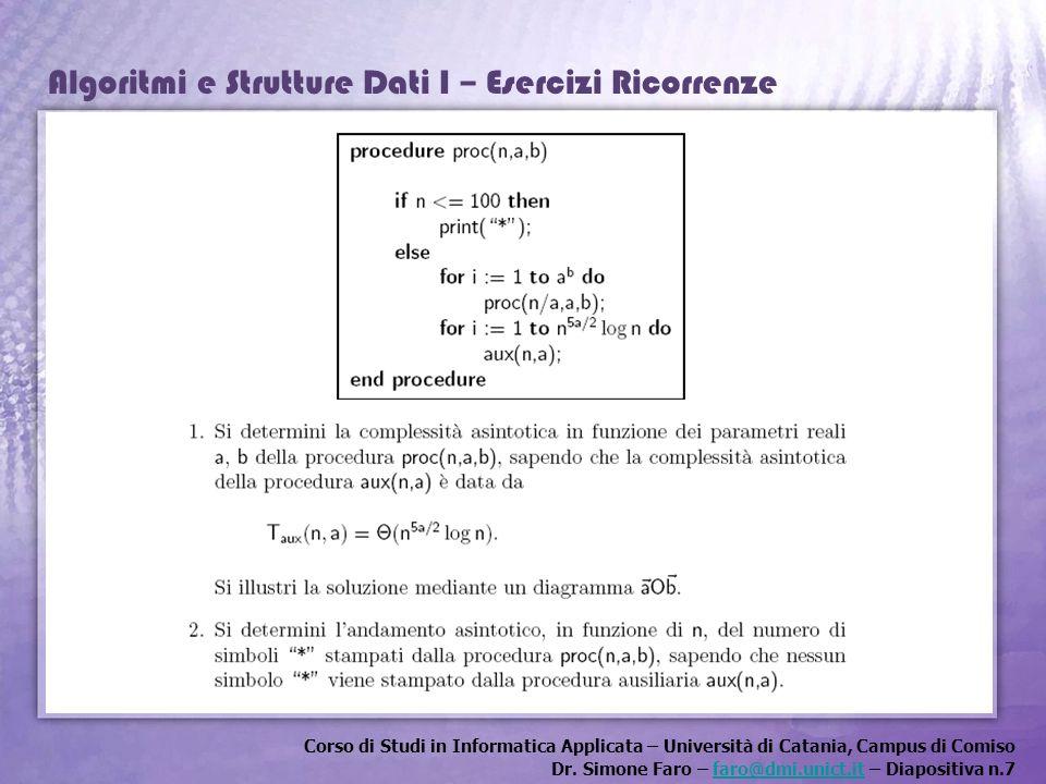 Corso di Studi in Informatica Applicata – Università di Catania, Campus di Comiso Dr. Simone Faro – faro@dmi.unict.it – Diapositiva n.7faro@dmi.unict.