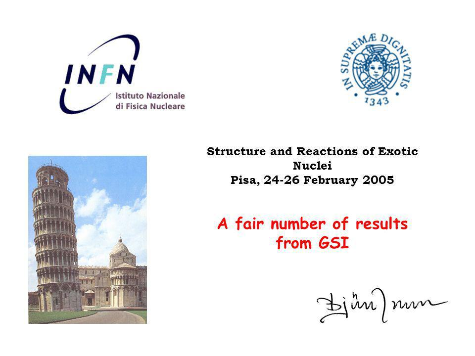 A fair number of results from GSI Structure and Reactions of Exotic Nuclei Pisa, 24-26 February 2005