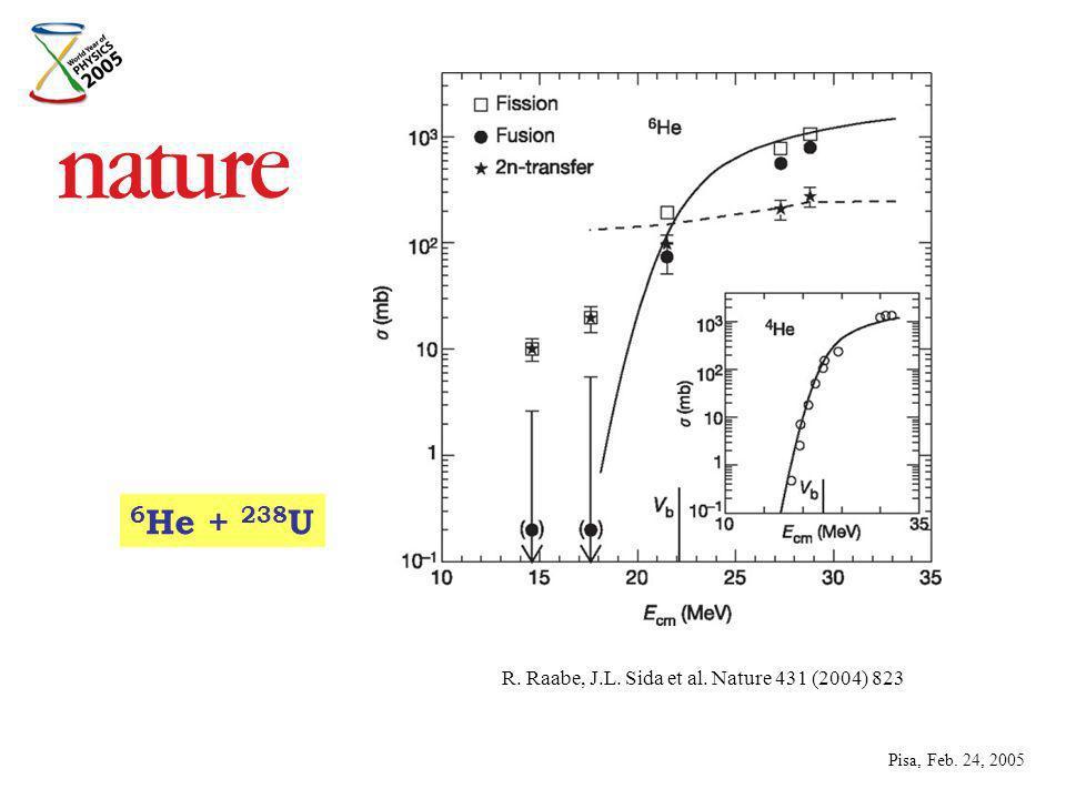 6 He + 238 U R. Raabe, J.L. Sida et al. Nature 431 (2004) 823 Pisa, Feb. 24, 2005