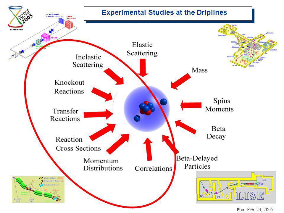 Experimental Studies at the Driplines Pisa, Feb. 24, 2005