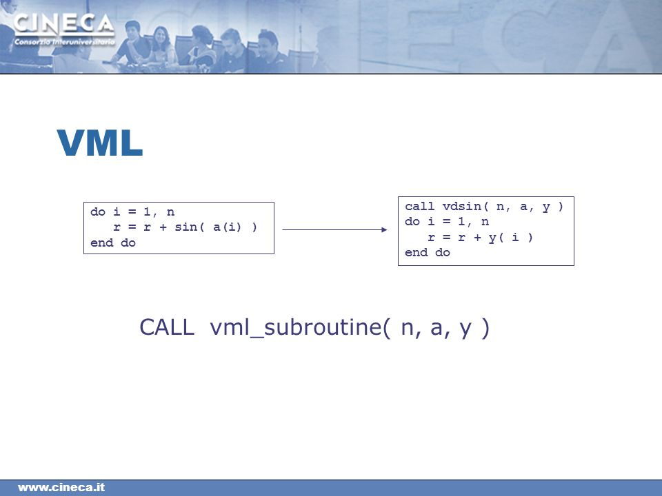 VML do i = 1, n r = r + sin( a(i) ) end do call vdsin( n, a, y ) do i = 1, n r = r + y( i ) end do CALL vml_subroutine( n, a, y )