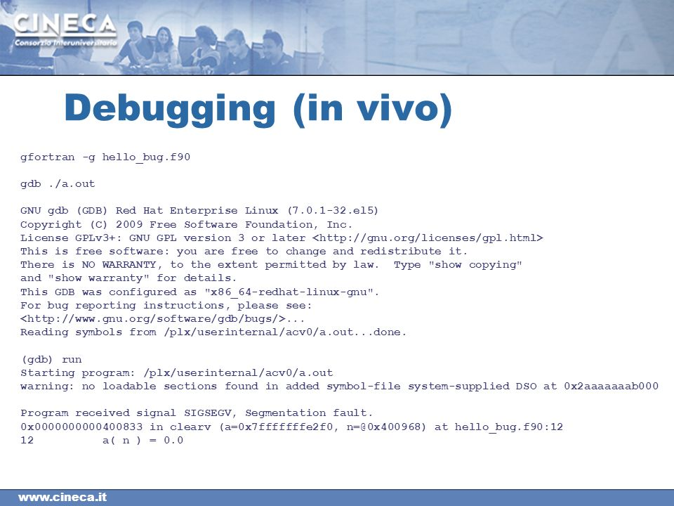 Debugging (in vivo) gfortran -g hello_bug.f90 gdb./a.out GNU gdb (GDB) Red Hat Enterprise Linux ( el5) Copyright (C) 2009 Free Software Foundation, Inc.