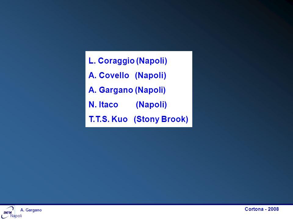 L. Coraggio (Napoli) A. Covello (Napoli) A. Gargano (Napoli) N. Itaco (Napoli) T.T.S. Kuo (Stony Brook) A. Gargano Napoli Cortona - 2008