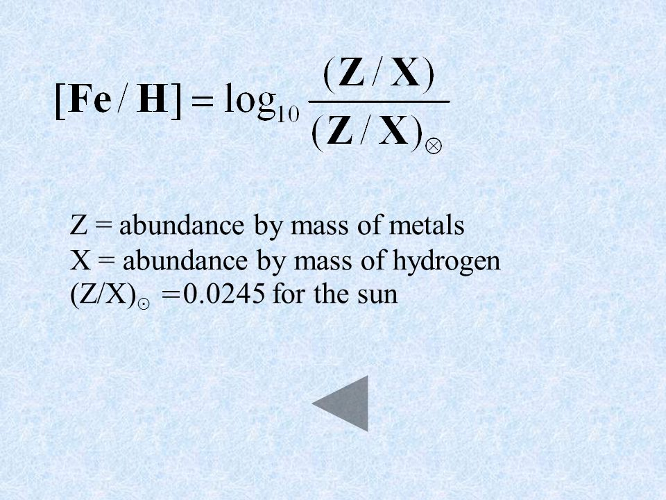 Z = abundance by mass of metals X = abundance by mass of hydrogen (Z/X) = for the sun
