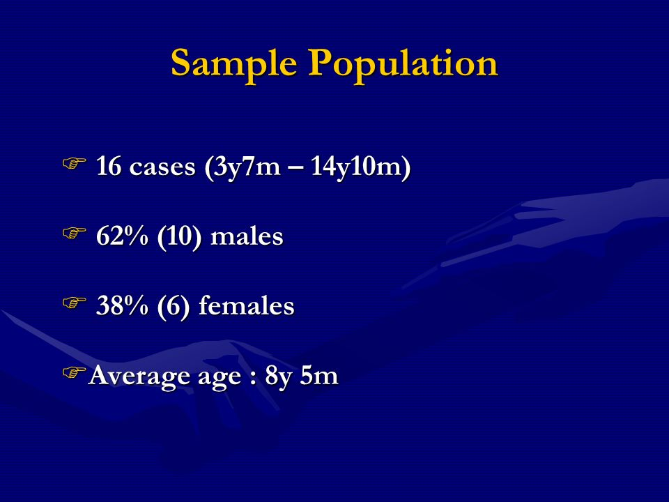 Sample Population 16 cases (3y7m – 14y10m) 16 cases (3y7m – 14y10m) 62% (10) males 62% (10) males 38% (6) females 38% (6) females Average age : 8y 5m Average age : 8y 5m