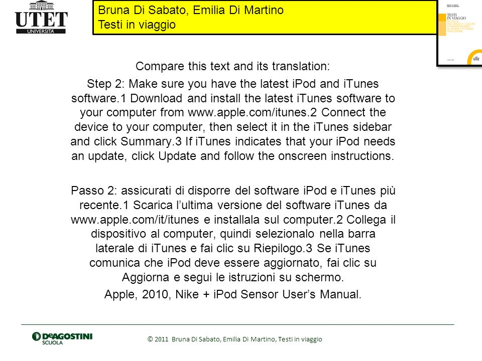 Bruna Di Sabato, Emilia Di Martino Testi in viaggio © 2011 Bruna Di Sabato, Emilia Di Martino, Testi in viaggio Compare this text and its translation: Step 2: Make sure you have the latest iPod and iTunes software.1 Download and install the latest iTunes software to your computer from www.apple.com/itunes.2 Connect the device to your computer, then select it in the iTunes sidebar and click Summary.3 If iTunes indicates that your iPod needs an update, click Update and follow the onscreen instructions.