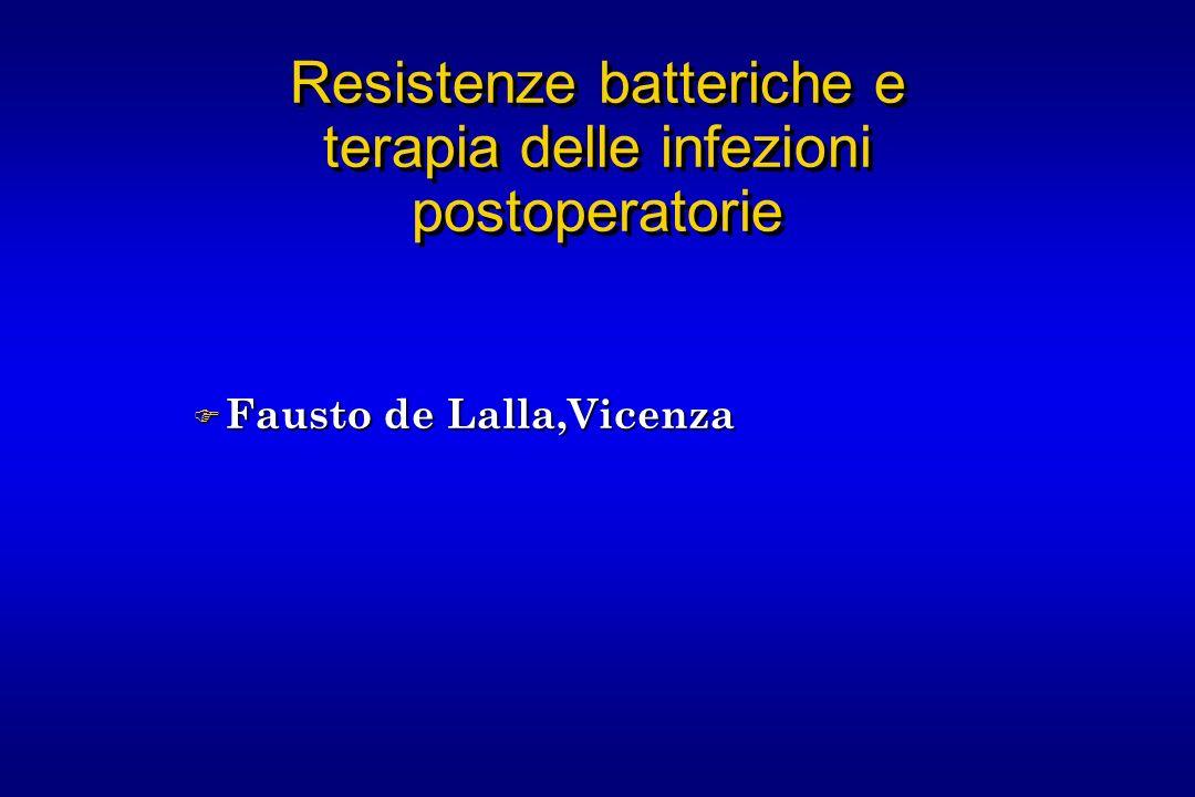 Resistenze batteriche e terapia delle infezioni postoperatorie F Fausto de Lalla,Vicenza
