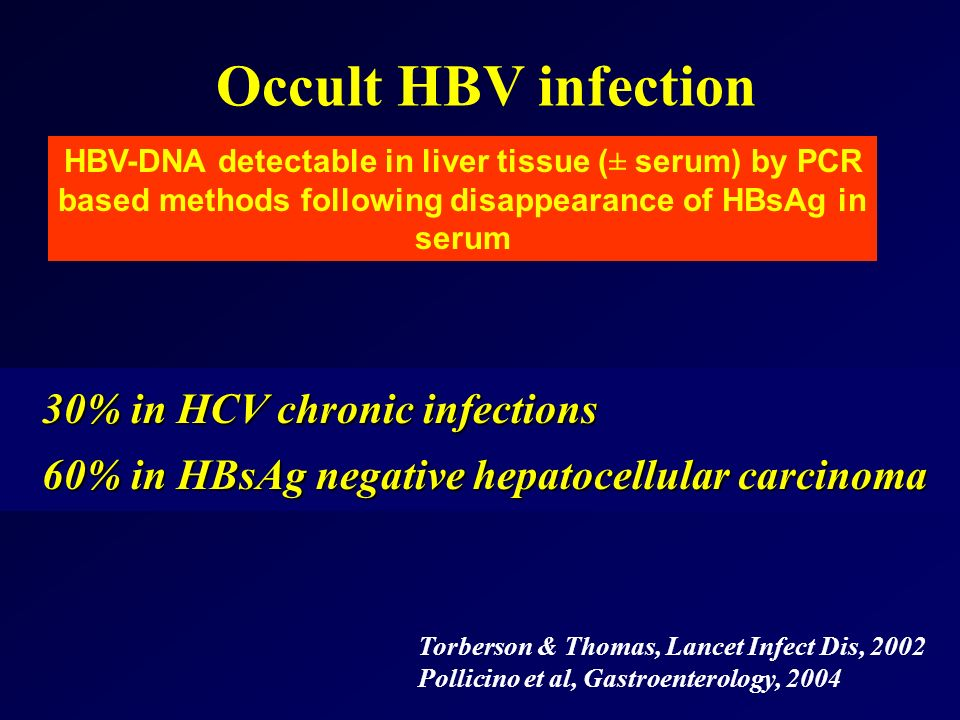 Occult HBV infection HBV-DNA detectable in liver tissue (± serum) by PCR based methods following disappearance of HBsAg in serum 30% in HCV chronic in
