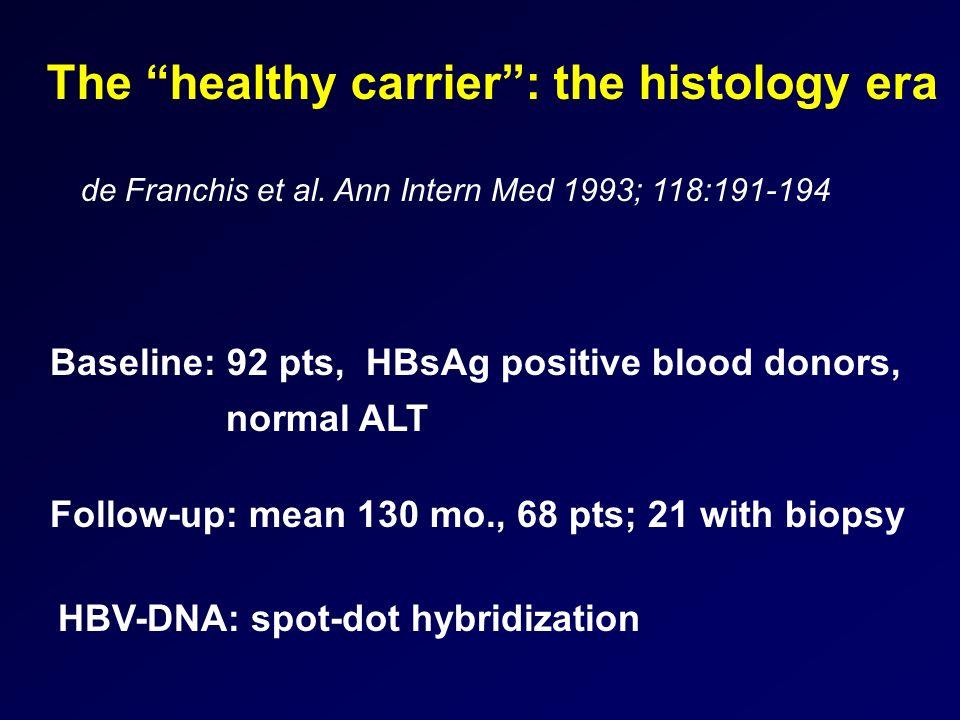 The healthy carrier: the histology era de Franchis et al. Ann Intern Med 1993; 118:191-194 Baseline: 92 pts, HBsAg positive blood donors, normal ALT F