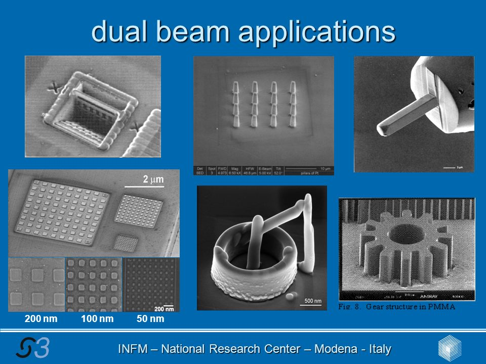 INFM – National Research Center – Modena - Italy dual beam applications 200 nm 100 nm 50 nm