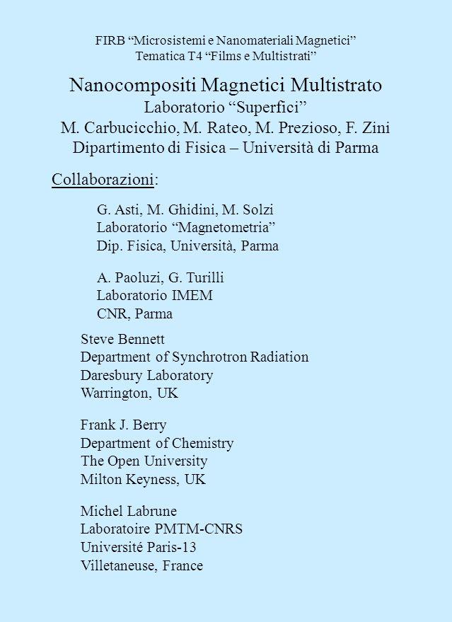 FIRB Microsistemi e Nanomateriali Magnetici Tematica T4 Films e Multistrati Nanocompositi Magnetici Multistrato Laboratorio Superfici M.