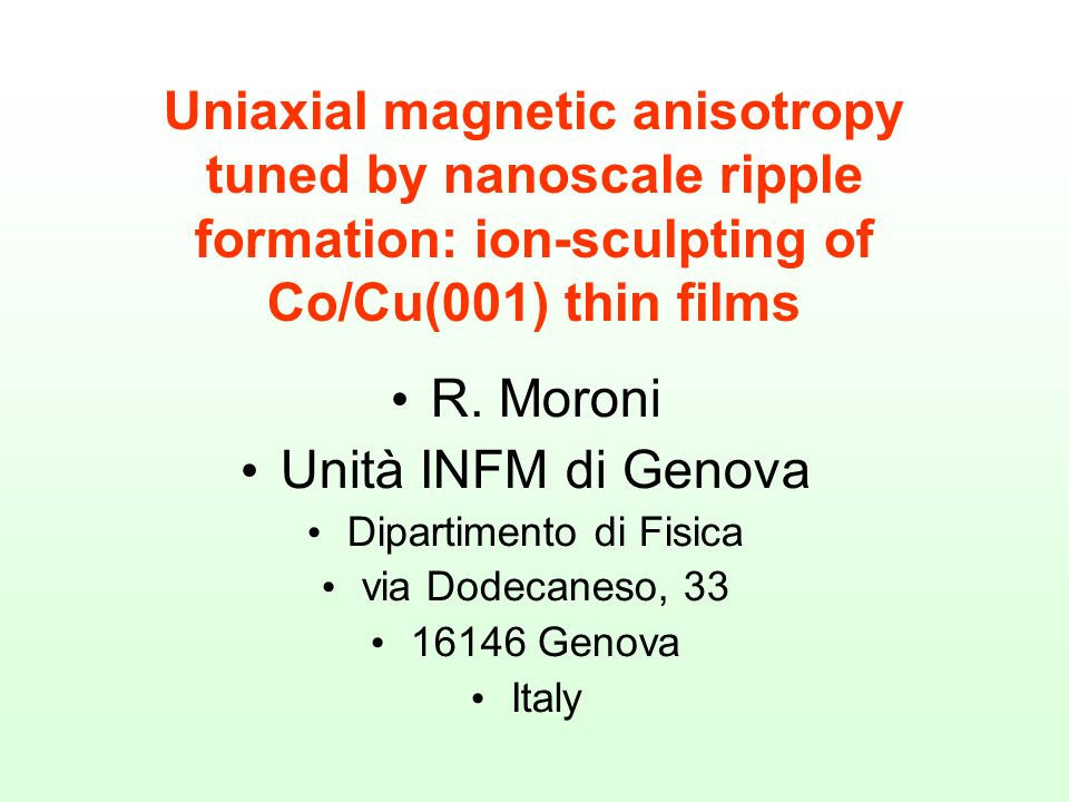 Uniaxial magnetic anisotropy tuned by nanoscale ripple formation: ion-sculpting of Co/Cu(001) thin films R.