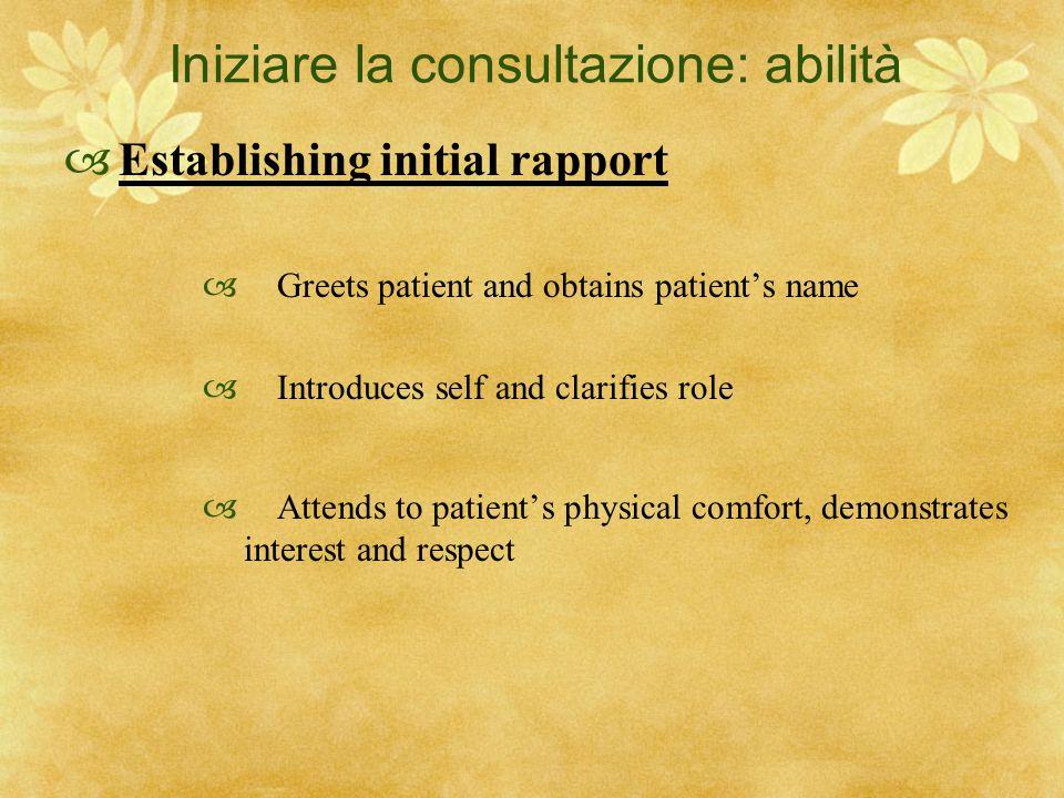 Iniziare la consultazione: abilità Establishing initial rapport Greets patient and obtains patients name Introduces self and clarifies role Attends to