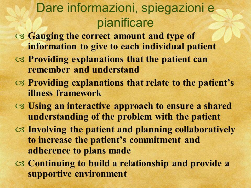 Dare informazioni, spiegazioni e pianificare Gauging the correct amount and type of information to give to each individual patient Providing explanati