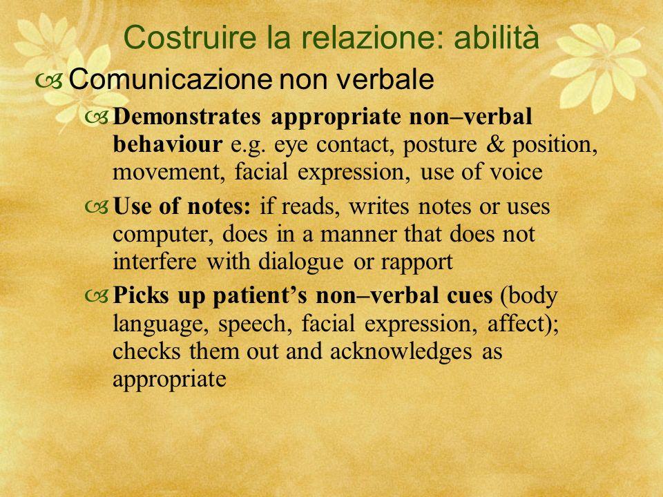 Costruire la relazione: abilità Comunicazione non verbale Demonstrates appropriate non–verbal behaviour e.g. eye contact, posture & position, movement