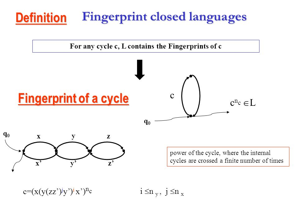 Star languages L A* is star language if L is regular, closed under conjugacy relation and L=X*, with X regular Proposition: SC PA =(A,I,R), I Cir(X*)